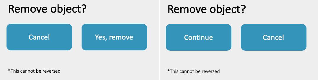 Welke van de twee heeft de meest logische teksten op de buttons?