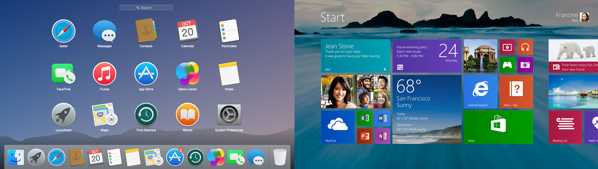 User Interface van iOS startpagina versus Windows 10 startpagina