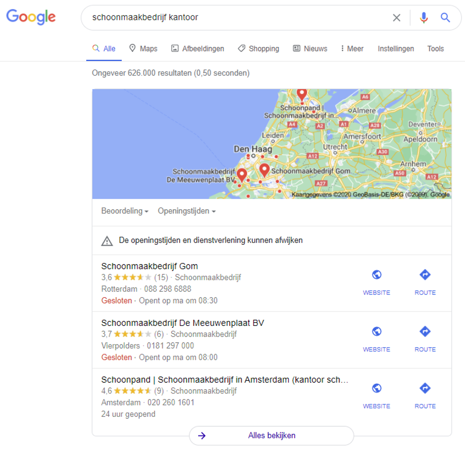 Screenshot google resultaat